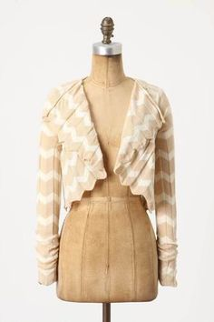 LOVE~~Anthropologie Rosie Neira Ruffled Motion Chevron Shrug Cardigan Top