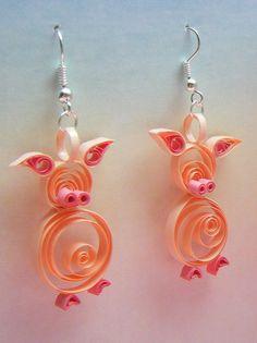 Quilled piglet earrings by Philippa Reid, via Flickr