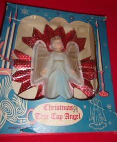 VINTAGE CELLULOID ANGEL RED & SILVER DESIGN FOIL REFLECTOR CHRISTMAS TREE TOPPER