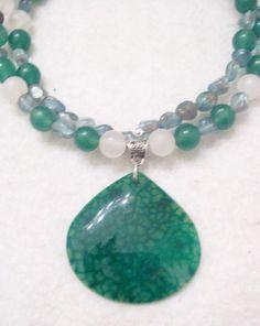 Green Dragon Vein Choker Necklace by LunarRocks on Etsy
