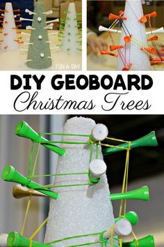 DIY geoboards with a holiday twist - make them on Christmas trees! Use foam, golf tees, and rubber bands for hours of math and fine motor fun. Perfect for preschool or homeschool! Preschool Teacher Tips, Preschool Christmas Activities, Christmas Crafts For Kids, Simple Christmas, Christmas Themes, Christmas Diy, Preschool Math, Educational Activities For Preschoolers, Math Activities