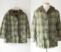 1960s fur lined green plaid coat by School of Vintage on Etsy