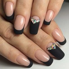 Black Matte French Tip Nails with Rhinestones