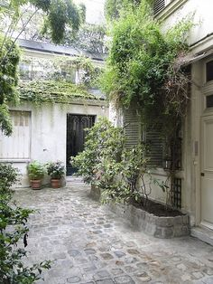 French courtyard with lush plants and shutters. European Farmhouse and French Country Decorating Style Photos. Small Gardens, Outdoor Gardens, Roof Gardens, Landscape Design, Garden Design, Landscape Rocks, House Landscape, French Courtyard, Courtyard Entry