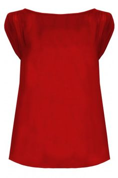 Bebe Rolled Sleeve Silk Top #red, #design, https://facebook.com/apps/application.php?id=106186096099420
