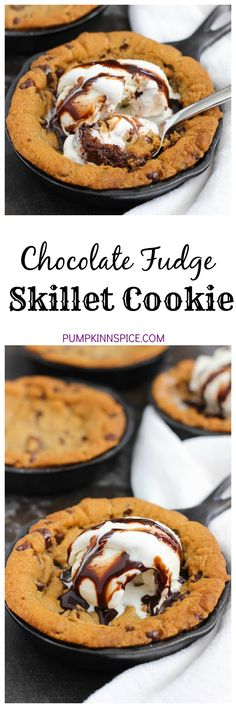 This Chocolate Fudge Skillet Cookie is an easy dessert that features a layer of chocolate chip cookie dough, followed by a layer of rich, hot fudge, and then topped with more chocolate chip cookie dough. This skillet results in a soft cookie, stuffed with fudge and oozing with deliciousness!