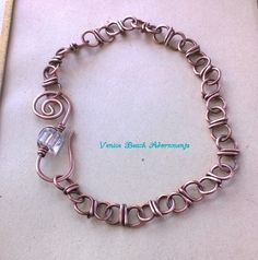 handwrapped copper bracelet w/ crystal hook