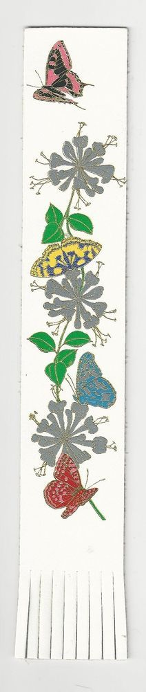 Butterfly and Flower White English Leather Bookmark