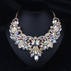 2016 Luxury Brand AB Shine Crystal Flower Necklace Gold Plated Chain Choker Statement Necklaces Pendants Rhinestone Bib from Hespirides Gifts. Cheap Jewelry, Boho Jewelry, Wedding Jewelry, Jewelry Sets, Jewelry Necklaces, Women Jewelry, Ladies Jewelry, Bohemian Necklace, Chunky Jewelry