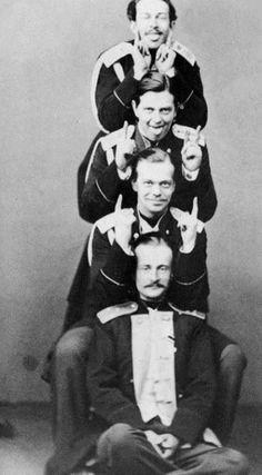 Tsesarevich Alexander relatives.  Top to bottom:  Nikolai Maksimilianovich Leyhtenbersky (grandson of Nicholas I) led. book. Vladimir Alexandrovich (son of Alexander II) Tsarevich Alexander (son of Alexander II) Duke Albert of Saxe-Altenburg