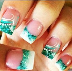 Teal/white French tip designs