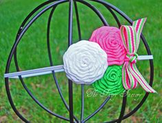 Apple Green Hot Pink and White Ribbon by TheFairyFactoryShop, $7.00