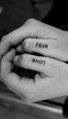 fear vs love | ink | tattoo | polar opposites | hands | black & white | www.republicofyou.com.au