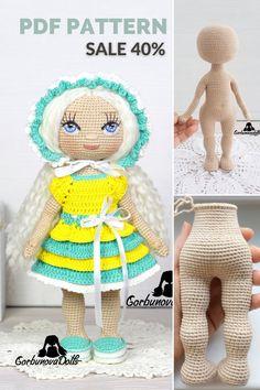 Crochet Doll Pattern, Crochet Toys Patterns, Amigurumi Patterns, Stuffed Toys Patterns, Handmade Dolls Patterns, Doll Patterns, Clothing Patterns, Beginner Crochet Tutorial, Crochet For Beginners