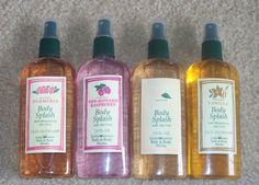 A row of vintage Bath and Body Works splashes from the early 90's...had all of these in this same bottle.
