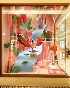 """HERMES, Iguatemi Shopping Mall, Sao Paulo, Brazil, """"PA-RA-DISE: A place of extreme beauty, delight, or happiness"""", creative by Leila Menchari, photo by Vitrinismo Brand, pinned by Ton van der Veer"""