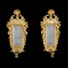 Pair of Italian Baroque Gilt Wood Sconce Mirrors....<3 <3