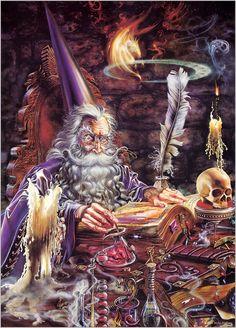 I love the fantasy art of Myles Pinkney Fantasy Artwork, Mago Merlin, Character Art, Character Design, Male Witch, Fantasy Wizard, Gandalf, Fantasy Dragon, Fantasy World