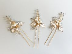 Hey, I found this really awesome Etsy listing at https://www.etsy.com/listing/221150153/rose-gold-hair-pins-floral-wedding