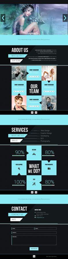 web design - dark, blue, one page layout