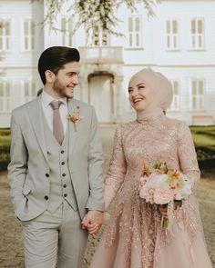 Muslimah Wedding Dress, Muslim Wedding Dresses, Dream Wedding Dresses, Bridal Dresses, Bridal Hijab, Wedding Hijab, Wedding Attire, Muslim Couple Photography, Hijab Dress Party