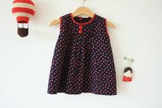 vintage baby girl spring summer navy blue cotton dress, ric-rac, red-green strawberry pattern 6-9 m