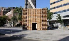 Bosque de palets reciclados en Montreal