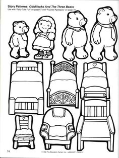Storytime and more: Goldilocks and the Three Bears Story Pattern,use for felt boards, stick puppets, attach magnets or print onto a magnet sheet. Also find our 100 Stories Before School on Facebook https://www.facebook.com/100storiesbeforeschool
