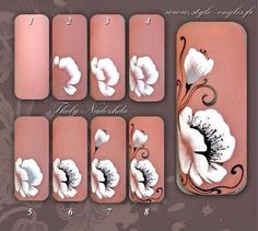 Step by step nails Nail Art Designs, Flower Nail Designs, Flower Nail Art, Nail Art Hacks, Nail Art Diy, Cool Nail Art, Uñas One Stroke, One Stroke Nails, Nail Art Techniques