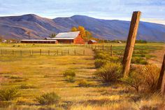 """""""Old Nevada Farm"""" The old farm captures the way of life now gone in the Washoe Valley  #artists #oilpainting #art #farmlife #nevada #barns #landscape #mountains #plains"""