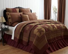 Country and Primitive Bedding, Quilts - Ninepatch Star Bedding by VHC Brands - Country Decor, Primitive Decor, Bedding, Braided Rugs