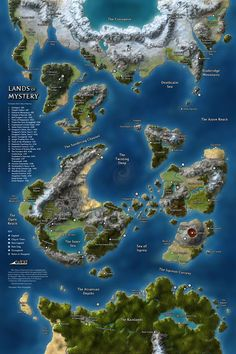 The Lands of Mystery was a continental map I created for the final print issue of Dungeon Magazine. It keys every Map of Mystery I created to a different locale within a shared world, providing GMs with a brand new campaign setting defined only by maps. Dnd World Map, Fantasy World Map, Fantasy City, Fantasy Map, Fantasy Places, Imaginary Maps, Rpg Map, Dungeon Maps, Island Map