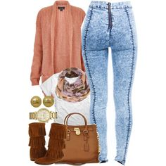 A fashion look from September 2014 featuring Topshop cardigans, Minnetonka boots and Michael Kors shoulder bags. Browse and shop related looks.