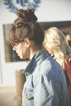 messy bun, vintage levi jacket, your nerd glasses