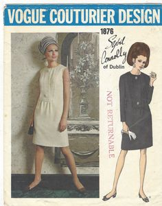 One-Piece Dress: Slim dress with round neckline, has top-stitched front plastron with button and snap closing. Pockets in side seams. Full length sleeves or sleeveless.  Featured in Vogue Pattern Book February/March 1968. Pattern has been cut out, and is complete. This is an original sewing pattern with all of the original pattern pieces and instructions. This is not a PDF or copy.  Size 10 Bust 32 1/2 Waist 24 Hip 34 1/2  For more Paris Designer fashions, please visit the rest...