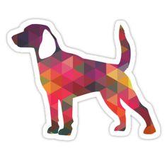 Beagle Hunting Hound Dog Colorful Geometric Pattern Silhouette Sticker