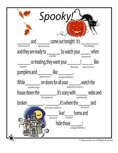 Free Halloween mad libs to print - great for classroom Halloween activities, Halloween parties, or just plain Halloween fun! Free Halloween mad libs to print - great for classroom Halloween activities, Halloween parties, or just plain Halloween fun! Classroom Halloween Party, Halloween Activities For Kids, Halloween Party Games, Holiday Activities, Holidays Halloween, Halloween Crafts, Haloween Party, Halloween Worksheets, Speech Activities