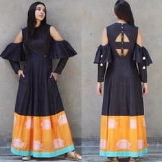 Latest Long Kurti Design Images For Stitching in 2019 - Buy lehenga choli online Indian Wedding Gowns, Indian Gowns, Indian Outfits, Kurta Designs, Blouse Designs, Cold Shoulder Kurti, Girls Kurti, Cotton Gowns, Gown Pattern