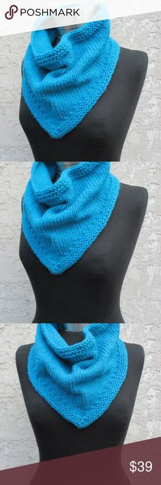NEW! HAND-KNIT BRIGHT BLUE BANDANA COWL SCARF! HANDMADE BANDANA STYLE SCARF!  New With Tags  Size: One Size  Details: -Wonderfully hand-knit bandana style cowl scarf! -Soft, bright blue acrylic yarn. -Measures approx. 13 inches across the top, 12 inches top to point, & 14 inches diagonally. (measurements taken with item laying flat)  ★ ALL ITEMS COME FROM A PET-FREE AND SMOKE-FREE HOME! ★ Handmade Accessories Scarves & Wraps