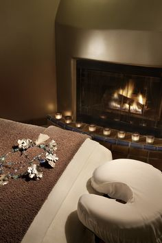 I would LOVE to have a treatment room with a fireplace in it, so cozy!!