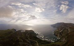 A panoramic ariel shot of the Slieve League area. Slieve League is a mountain right on the coastline of Donegal. Measuring 601 meters (1,972 ft), Slieve Leauge has some of the highest sea cliffs in Europe and while less famous than the Cliffs of Moher, in County Clare, Slieve League's are almost three times higher.
