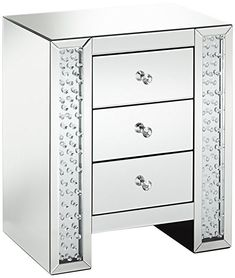 Affiliate | Fostoria Silver Mirrored 3-Drawer Crystal Accent Table | mirrored bedroom furniture, mirrored nightstand, mirrored furniture bedroom, mirrored furniture decor, mirrors furniture, bedroom mirrored furniture, bedroom with mirrored furniture Mirrored Bedroom Furniture, Furniture Decor, Bedroom Decor, Bedroom Ideas, Silver Nightstand, Mirror 3, Your Space, Drawers, Contemporary