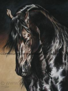Friesian Black Horse Print of pastel painting. Equine art by Cindy Price. $27.99, via Etsy.