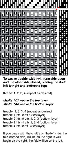 Draft 1 for Woolen Blanket (showing plain weave double-width structure) Note: more details on page. Click through. 4 shaft!