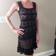 """Max Studio Lace overlay skirt and top Black lace overlay top and skirt. Beautiful  and comfortable! Wide elastic waist measures approx 26"""" around.  Skirt length measures 16 1/2"""" **** Please note: top is XS and skirt is S Max Studio Dresses Mini"""