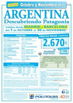 ARGENTINA Descubriendo Patagonia, salida del 1/10 al 30/11 dsd Mad y Bcn (15d/12n) p. final 3.195€ ultimo minuto - http://zocotours.com/argentina-descubriendo-patagonia-salida-del-110-al-3011-dsd-mad-y-bcn-15d12n-p-final-3-195e-ultimo-minuto/