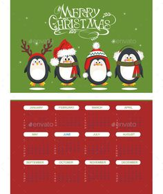 Merry Christmas Calendar with Penguins