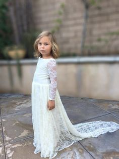 Ivory lace flawy flower girl dress/wedding by blovedllc on Etsy