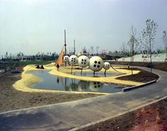 Futuristic Garden Show Playground, Vienna Austria - Playscapes Playground Design, Garden Show, Vienna Austria, Futuristic, Mid-century Modern, Mid Century, Good Things, History, Places