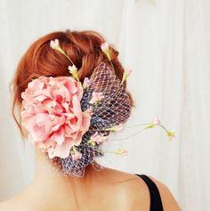 Pink peony hair